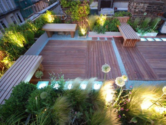 Roof garden in holland park shoot for Garden decking glass panels