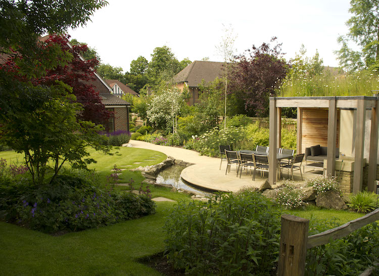 Large Country Garden Design in Surrey by garden designer Helen Elks-Smith MSG