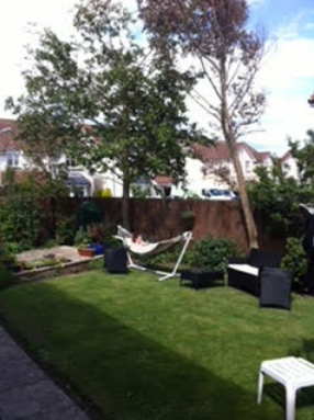 modern garden and hammock